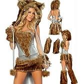ハロウィンコスプレ衣装 狼 ライオン猫の衣装 豹柄 銀色