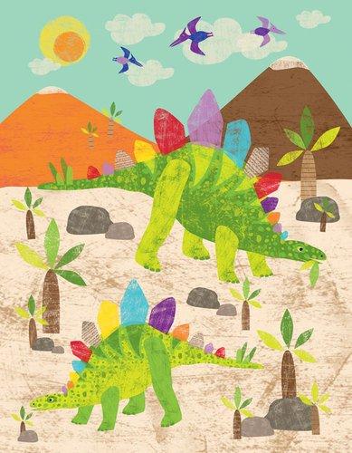 Oopsy daisy, Fine Art for Kids Dinosaur Fun Stegosaurus Stretched Canvas Art by Liza Lewis, 14 by 18-Inch