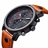 NIUBILITY 8192 Men Orange PU Leather Strape Quartz Wristwatch