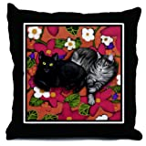 BLACK CAT and GREY TABBY CAT Throw Pillow