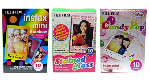 Review Of Fujifilm Instax Mini Instant Film Rainbow & Staind Glass & Candy Pop Film -10 Shee...