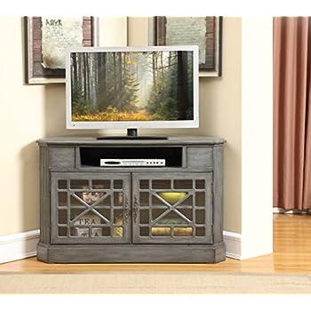 Treasure Trove Accents 17594 Two Door Corner Media Cabinet, Texture Grey
