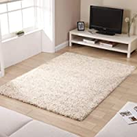 "Shaggy Rug Ivory 963 Plain 5cm Thick Soft Pile 80cm x 150cm (2ft 6"" x 5ft 0"") Modern 100% Berclon Twist Fibre Non-Shed Polyproylene Heat Set - AVAILABLE IN 6 SIZES by Quality Linen and Towels by Quality Linen and Towels"