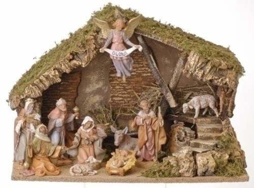 Eleven Piece Figurine Set With Italian Stable Home Garden Decor Seasonal Holiday Decorations