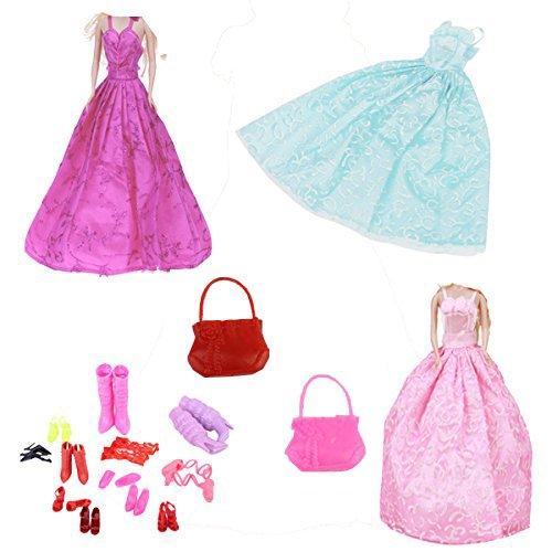 3-Kleider-1-Handtasche-und-11-Paare-Schuhe-fr-Puppen