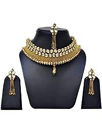 White Kundan One Gram Gold Pleted Necklace Set With Mang Tikka