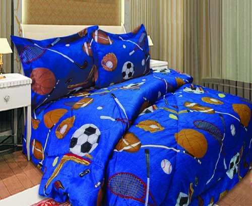 Twin Microfiber Kids Sports Comforter Set