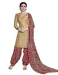 Blissta Beige Printed Glaze Cotton Unstitched patiala Dress Material