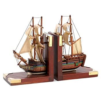Gifts & Decor Office Library Sailing Schooner Nautical Theme Bookend