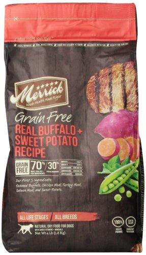 Merrick Grain Free 4-Pound Real Buffalo And Sweet Potato Dog Food, 1 Bag