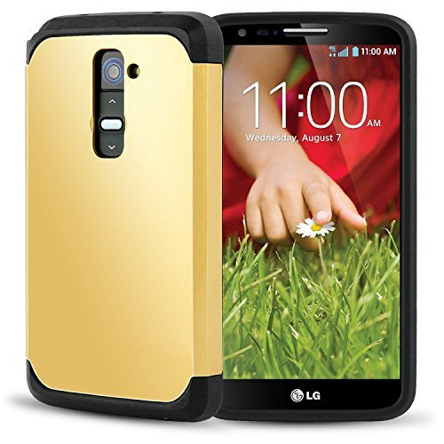 LG G2 Case, AnoKe Armor Dual Layer Bumper Case TPU PC 2 in 1 Hybrid Protective Case For LG G2, AT&T, Sprint, T-Mobile, (Armor Gold) (Lg G2 Sprint Screen Replacement compare prices)
