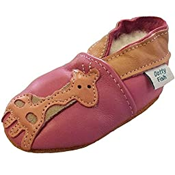 Dotty Fish Baby Girls Soft Leather Shoe with Suede Soles Pink Giraffe Newborn to 2-3 Years