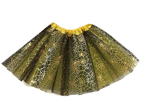 Rush Dance Ballerina Recital Halloween Yellow & Black Spider Webs Costume Tutu