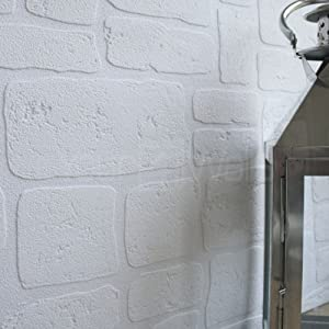 Paintable' Brick Effect wallpaper in White (Sample Only) from wallpaper heaven