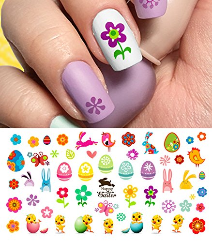 "Easter Nail Decals Assortment #2 Water Slide Nail Art Decals - Salon Quality 5.5"" X 3"" Sheet!"