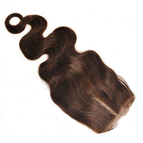 Moresoo 100% Naturel Remy 2# chatain tres fonce/Brun Ondules Top Closure Postiches Milieu Part 12\\