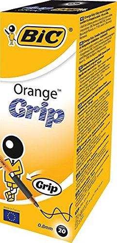 Bic Orange Grip Punta Fine 0,8 mm Confezione 20 Penne Colore Nero