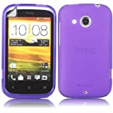 Gel Case Cover Shell And Screen Protector For HTC Desire C / Purple