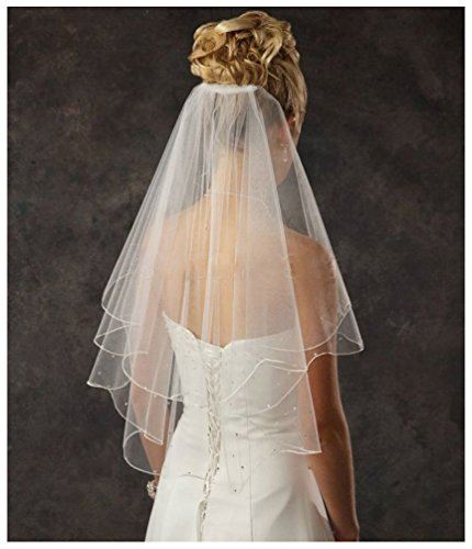 Shine Love Women's 2 Tier Spark Bridal Pearl Wedding Veil With Comb 11001