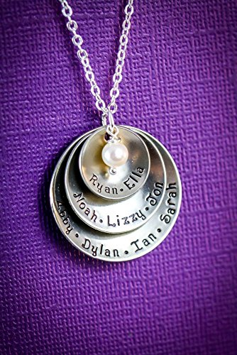 Personalized Grandmother Necklace - DII - Mom Gift - Handstamped Handmade - 5/8 7/8 1 1/8 inch Cupped Discs - Custom Birthstone Color - Fast 1 Day Shipping (Personalized For Mom compare prices)