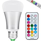 Warmoon 10W Daylight White and Color Ambiance Extension A19 LED Bulbs, Dimmable with Remote Control, RGBW