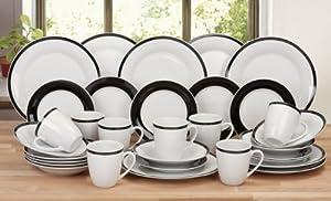 32 Piece Classic Oxford Black Rim Porcelain Dinner Set