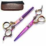 6 Inch Professional Hair Scissors Set With Case,Hair Cutting Scissors/Shears Barber Haircut Kits Hairdressing Sharp Scissors Hair Salon Tools Japanese Stainless Steel For Children/Teens/Cat/Women/Men