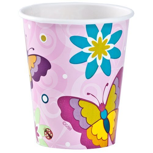 Hanna K. Signature Collection 24 Count Birthday Butterfly Hot/Cold Paper Cup, 9-Ounce