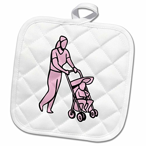 3dRose Susans Zoo Crew Baby Kid Designs - woman pushing stroller with toddler pink - 8x8 Potholder (phl_175753_1) (Pushing Cycle For Toddlers compare prices)