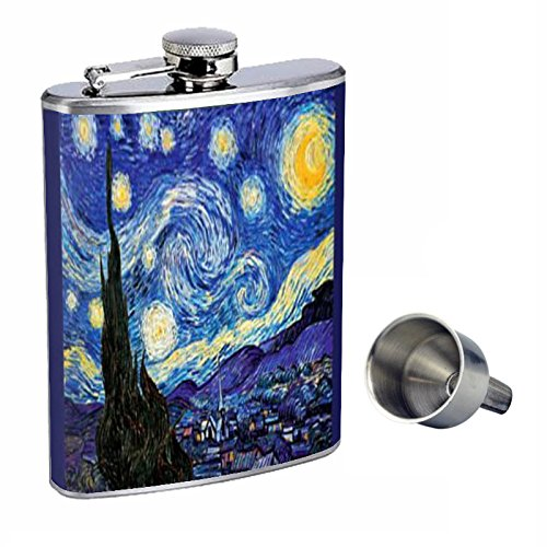 vincent-van-gogh-starry-night-perfection-in-style-8oz-stainless-steel-whiskey-flask-with-free-funnel