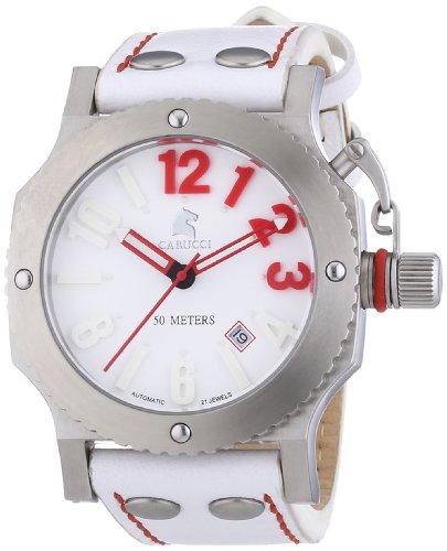 Carucci Watches CA2210SL-RD - Orologio da polso unisex, pelle, colore: bianco