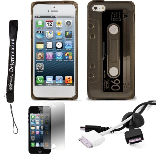 Smoke Tpu Audio Cassette Protective Skin For Apple Iphone 5 Ios (6) Smart Phone + Black Cord Organizer + Apple Iphone 5 Screen Protector + An Ebigvalue Tm Determination Hand Strap