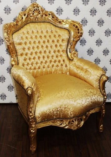 Baroque Chair King Gold Pattern / Gold - Antique Furniture