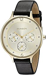 Skagen Women's SKW2393 Anita Gold-Tone Watch with Brown Leather Band