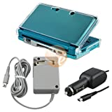 For Nintendo 3DS Bundle Clear Crystal Hard Case + Car Charger + Travel Char ....