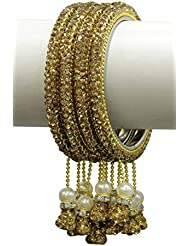 Beautiful Charm Dangle Look Golden Color Lac Bangle For Women & Girls Jewelry