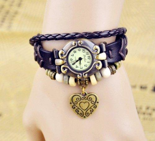 Kano Bak(Tm) Retro Bronze Women Ladies Weave Wrap Love Heart Leather Bracelet Bangle Quartz Gift Watch Black