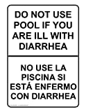 ComplianceSigns Aluminum Swimming Pool / Spa Sign, 10 x 7 in. with English + Spanish Text, White