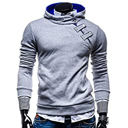 Mens Casual Luxury Buckle Hoodie Slim Cotton Sweatshirts