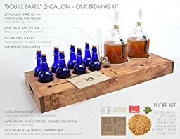 Handcrafted Small Batch Beer Making Home Brewing Kit with 8 cobalt blue bottles