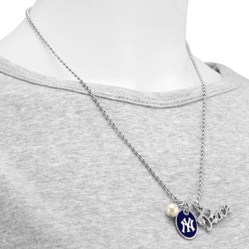 MLB Touch by Alyssa Milano New York Yankees Peace & Pearl with Team Logo Pendant Necklace at Amazon.com