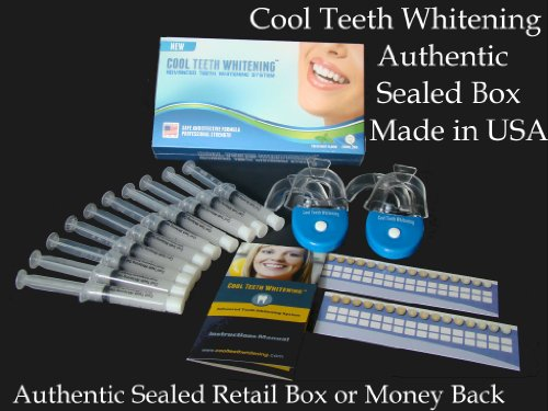 Sealed Retail Box Cool Teeth Whitening Home Teeth Whitening Kits Couples Pack 44% Carbamide Peroxide With 10 Large Syringes Of Made In Usa Gel 10 Pcs. 5Cc Syringes, 4 Pcs. Thermoform Trays + 2 Pcs. Bonus White Led Light + Free Shade Guides + Instructions