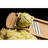 Professional Size Wooden Cabbage Shredder & Slicer for Finely Cut Sauerkraut, Sour Cabbage. Extra Fast Shredding with Finger Protection Box. Lifetime Warranty.