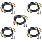 JerGO Professional Grade Siamese Combo Coaxial Cable Pre-made All-in-One BNC Video Power Cable for 1080P /720P, TVI, CVI, AHD and HD-SDI Camera and Analog CCTV Camera ( Black 65Ft ) (5 Pack)