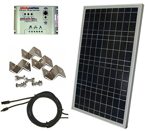 Complete 30 Watt Solar Panel Kit: 30W Polycrystalline Solar Panel + 10A Charge Controller + Mc4 Connectors + Mounting Z Brackets For 12V Off Grid Battery Charging Boat Rv Gate
