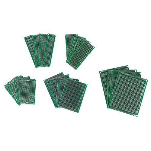 EBYTOP 20PCS Double Side Prototype Universal PCB Circuit Board for DIY Soldering,with Multiple Sizes (Pc Board Etching compare prices)