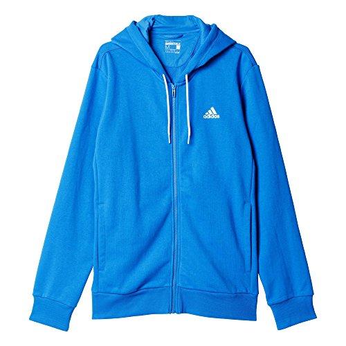 Adidas LIN FZ HOOD FT Felpa, Blu / Bianco, M