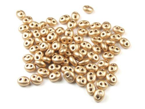 10 Gramm Preciosa Twin Beads, 4x2,5 mm, mattgold