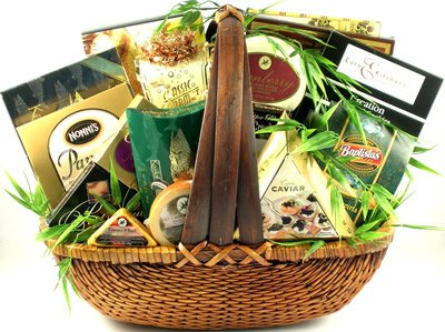 The Finer Things Gourmet Snack Food Basket - Includes Cheeses, Caviar, Smoked Salmon, Cookies, Nuts, Coffee and More - Great Fathers Day Gift Idea