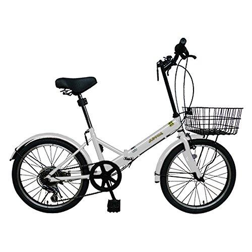 20インチ折りたたみ自転車AJ-20K(WHITE) 便利なカゴ付き AJ-20K 【カゴ付き】